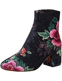 MYMYG Damen Stiefeletten Kurzschaft Boots Damenmode Runde Zehe Rutschfeste Schuhe Blumendruck Starke Ferse Stiefel Ankle Boots mit Halbhohe Blockabsatz