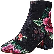 Tefamore Botines de Mujer Invierno 2018 Clásica Moda Zapatos Mujer Tacón Ancho Botas de