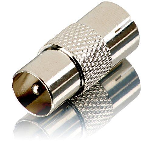 Movoja TV Verbindungsstück - | Einfacher Anschluss 2er Kabel | KOAX | Metall | Antennen Adapter Koax auf Koax Stecker Fernsehkabel Verbinder Kupplung Verlängerung Anschluss Adapter