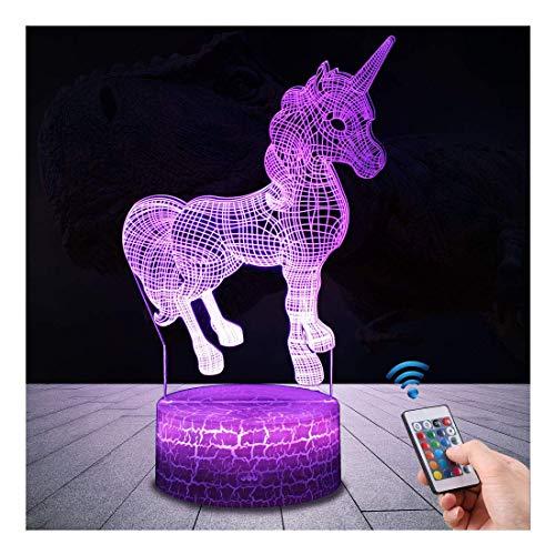 Einhorn Geschenk Einhorn Nachtlicht für Kinder, 3D Licht Lampe 7 Farben ändern mit Remote Urlaub...