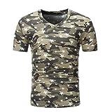 UFACE Männer Bedruckt Camo Star T-Shirt Herren Druck Plus Size Camouflage StarShirt Kurzarm T-Shirt Bluse Tops (XL, Kaffee)