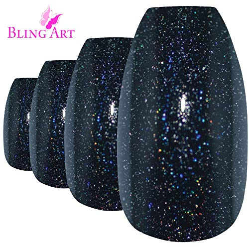 Faux Ongles Bling Art Noir Gel Ballerine Cercueil 24 Longue Faux bouts d'ongles acrylique avec colle