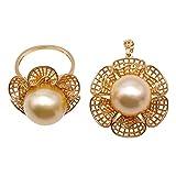 JYX Damen-Schmuck-Set 18 Karat Gold Halskette Ring Schmuckset 13,5-14 mm Goldfarben runde Südseeperle Halskette Ring Set für Hochzeit