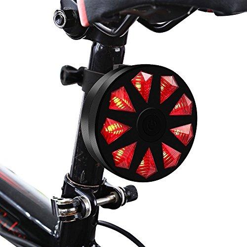 feu arrière de vélo 9LED Diamant Vélo sécurité llicht 4modes ultrahell étanche lampe d'avertissement de flash pour vélo, Rot