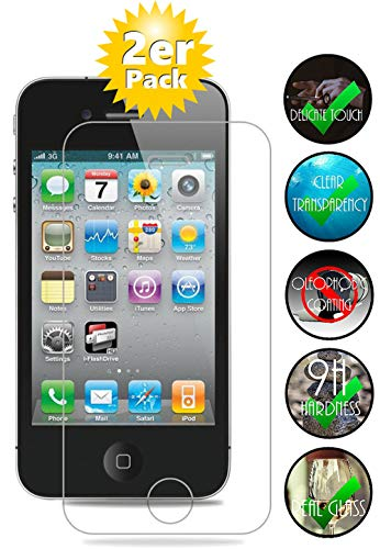 Smartphone-Equipment [2er Pack] Panzerglas für Apple iPhone 4, 4S gehärtetes Glas 9H, Echtglas Glasfolie Schutzfolie Displayfolie Panzerfolie Glas Folie Displayschutz (Schutzfolie Iphone 4)