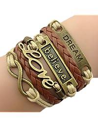 Infinity Bijoux - Pulsera infinito love, believe y dream / eternidad / one direction/ ama, cree y sueña - marrón / bronce