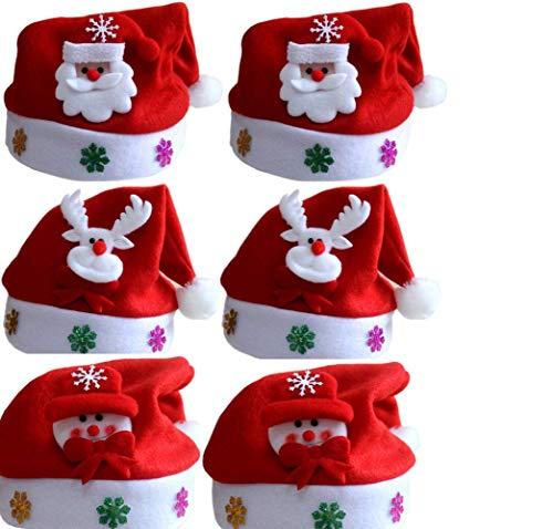 Dream Loom Sombrero de Navidad para niños, Un Conjunto de 6 Piezas de Gorro de Navidad para niños Entre 2 y 8 años (Rojo)