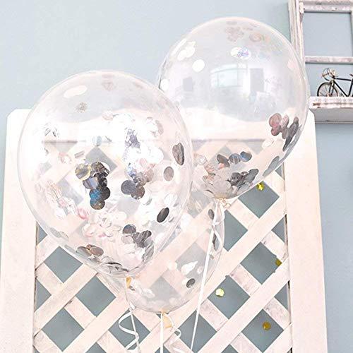 FindFun Globos transparentes de 30,5 cm precargados con confeti de plata de 2,5 cm para decoración de boda, cumpleaños, fiesta (paquete de 12)