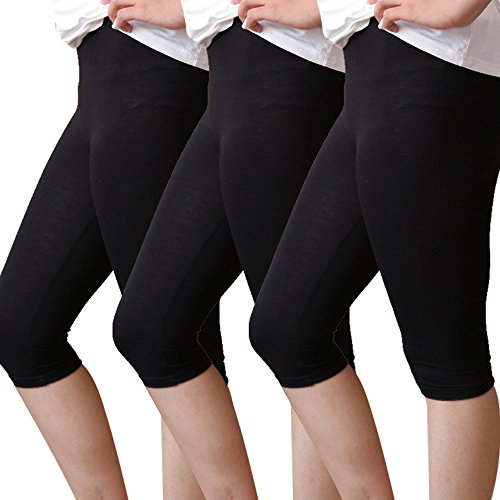 b7e9a5b024ade6 Shujin Damen 3er Pack Modal 3/4 Länge Basic Blickdicht Leggings weich  Stretch Capris Yoga Sporthose Unter Rock Kurz Leggings Dünn  Sicherheitshosen ...