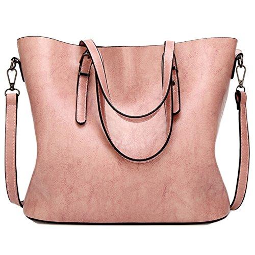 Rovanci Damen Handtasche Leder Umhängetasche Vintage Schultertasche große Shopper Taschen Green Pink