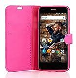 Phone Doctorz Book Case Wileyfox Spark X Hülle Tasche Etui Flip Cover Handy Schutz in Rosa/Pink