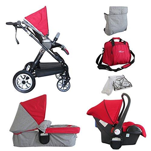 PAPILIOSHOP THUO Passeggino e carrozzina trio certificato modulare completo per bambino bimbo bambini con ovetto borsa parapioggia zanzariera carrozzina da passeggio leggero economico (Rosso)