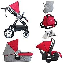 PAPILIOSHOP THUO Passeggino e carrozzina trio certificato modulare completo per bambino bimbo bambini con ovetto borsa parapioggia zanzariera carrozzina da passeggio leggero economico