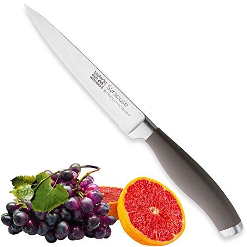 Taylors eye witness siracusa serrated utility coltello da cucina professionali–13cm/12,7cm cutting edge, multi uso. ultra fine dentata, lama affilata. manico morbido tessuto grigio, ottimo grip.