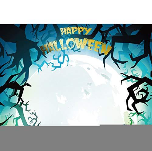 OERJU 1,5x1m Halloween Hintergrund Gold Happy Halloween Pattern Photography Decayed Tree Full Moon Hintergrund Süßes oder Saures Halloween Party Dekoration Porträt Requisiten (Hintergrund Happy Halloween-computer)