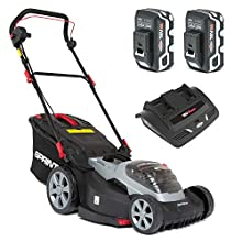Sprint 2x18V (36V) Lithium-Ion 44cm Cordless Lawn Mower 440P18V, Including 2X 5Ah Battery and Dual Charger, 5 Years Warranty, Red