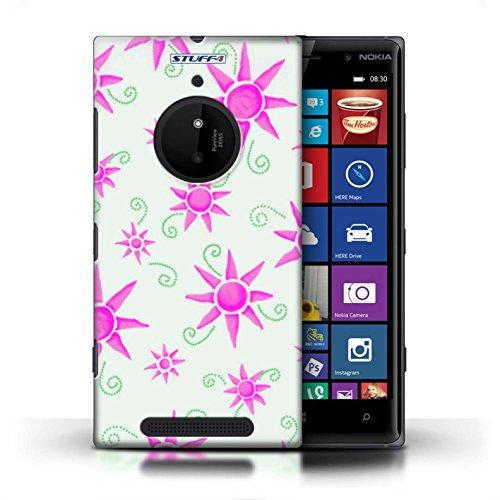 Kobalt® Imprimé Etui / Coque pour Nokia Lumia 830 / Vert/Bleu conception / Série Motif Soleil Rose/Blanc