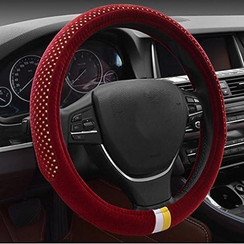 juegos de ruedas de dirección de conjuntos cortos de felpa caliente cómoda sudoríparas invierno generales de los suministros de automoción (38cm) , passion red