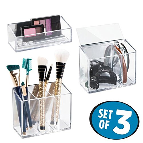 mDesign AFFIXX Kosmetik Organizer – 3er-Set praktische, selbstklebende Aufbewahrungsbox für Kosmetikartikel wie Lippenstift und Co – Schminkaufbewahrung leicht gemacht – transparent / glänzend