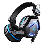 #5: Kotion Each GS210 Multicolor LED Headset with Mic for PC, Laptops (Black/Blue)
