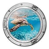 Glasbild 3D Optik rund Schildkröte auf Reisen Ozean Unterwasserwelt Wall-Art Ø