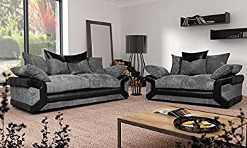 Grande Nuovo Dino Corner Sofa Set Or 3 Seater And 2 Seater Settees Couches  Color Variations Available This Variation Includes: (Black U0026 Grey, ...