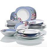 VEWEET Hannah Servizio di Piatti in Porcellana Stoviglie Set 48 Pezzi con 12 Ciotola per Cereali, 12 Piatti, 12 Piatti da Dessert e 12 Piatti Fondi per 12 Persone
