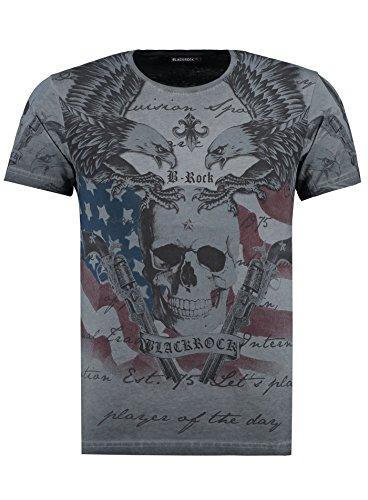 BlackRock Herren T-Shirt Slim-Fit Totenkopf Skull Bones Adler Elasthan 512069 - Black