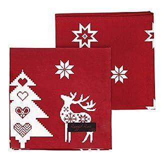 Ragged Rose – Natalie – Servilletas de Algodón Navidad (4 Unidades), Color Rojo y Blanco – 40 x 40 cm