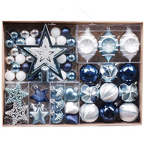 Valery madelyn palline di natale 70 pezzi cm plastic palline di natale decorazioni per albero di natale con albero di natale lace and hanger decorazioni natalizie silver blue