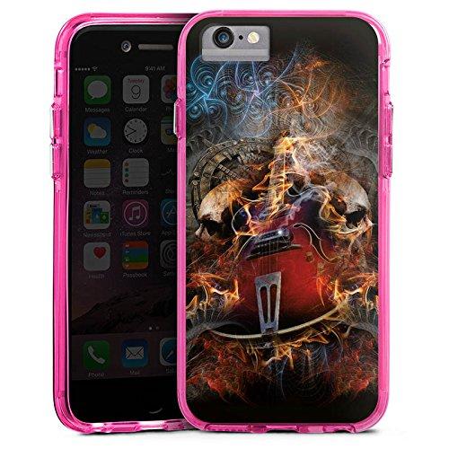Apple iPhone 7 Bumper Hülle Bumper Case Glitzer Hülle Gitarre Totenkopf Skull Bumper Case transparent pink