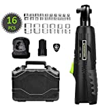 HAWKFORCE Cordless Electric Ratchet Wrench Tool Set Variable Speed Trigger with 12V Lithium-Ion