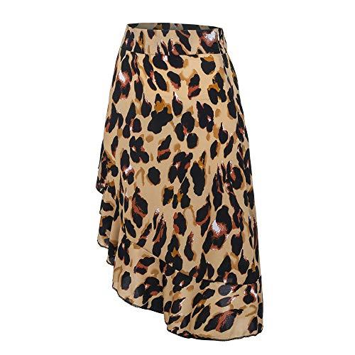 CICIYONER Damen Abend Party Rock Mode Frauen Sexy England Leopard gedruckt Split Bandage (36, Braun-1) - Baumwolle Leopard Rock