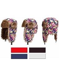 adonia mode Damen Pilotenmütze,Ohrenklappen,Web-Pelz,gefüttert,Blumenmuster