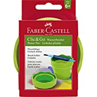 Faber-Castell Clic & Go Portable Water Cup with Brush Holder, Green