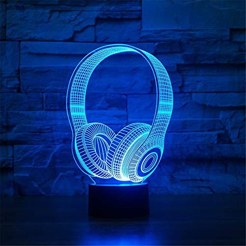 3D DJ Kopfhörer Nachtlicht Studio Musik Monitor Kopfhörer Coloful Kopfhörer Tischlampe Schlafzimmer Dekoration Schlaf Licht Beste ##
