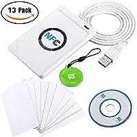 ACR122U NFC Reader + SDK + 10 MIFARE Scheda USB IC + 1 MF Keychain Card Lettore e Scrittore Smart Card Senza Contatto Collegato al PC (13 Pezzi)