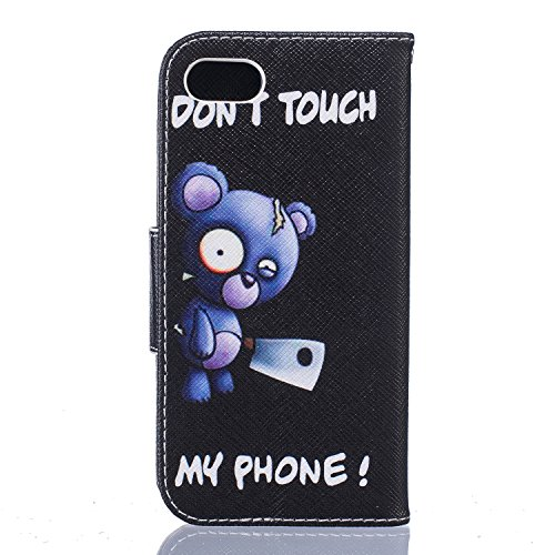 SainCat Apple iPhone 7 Custodia in Pelle,Anti-Scratch Protettiva Corpertura Caso Custodia Per iPhone 7,Elegante Creativa Dipinto Pattern Design PU Leather Flip Ultra Slim Sottile Morbida Portafoglio W Orsi Blu