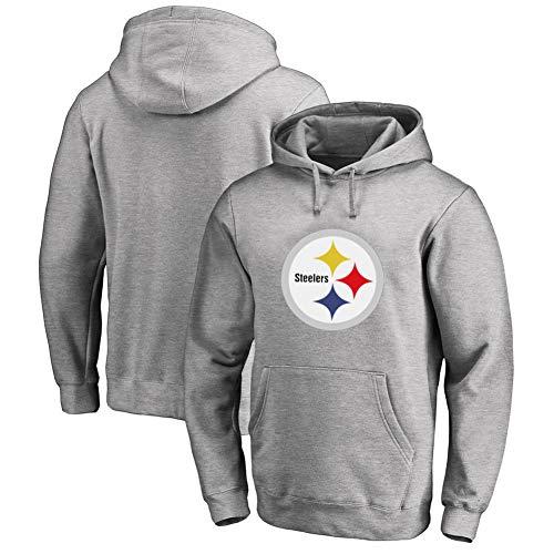 VIVICL Pullover NFL Pittsburgh Steelers Hoodie-Rugby-Fan Pullover Sweatshirts Für American Football-Fans Team Logo Hoodie,Grau,XXXL