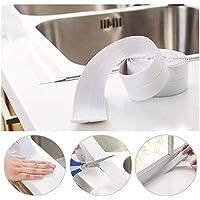 ulooie 3,2m cinta resistente al agua moho baño cocina esquina protector adhesivo para oficina en casa uso (color blanco)