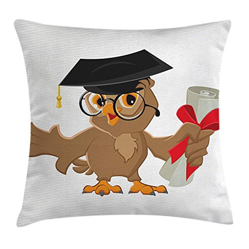 Graduation Throw Pillow Cushion Cover by, Cute Owl with Cap and Diploma Finishing University Themed Humor Illustration, Decorative Square Accent Pillow Case, 18 X 18 Inches, Cocoa Black