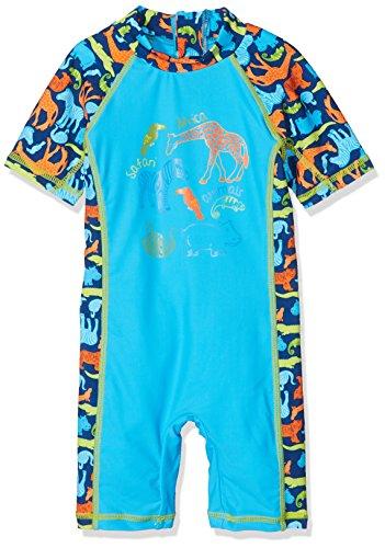 DIMO-TEX Sun Baby-Jungen SchwimmoverallUV-Schutz 50 Einteiler, Mehrfarbig (Türkis, AOP Tiere), 86