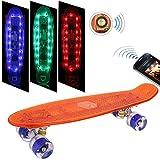 Weskate Mini-Cruiser-Skateboard mit Bluetooth Lautsprecher,55cm Skateboard mit LED Deck&LED Leuchtrollen&USB Kabel aufzuladen,ABEC-9 Kugellager, 59mm PU-Räder