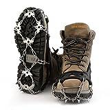 Baisde Eis Crampons 18 Zähne Krallen Edelstahl rutschfeste Schuhe Abdeckung für Outdoor Ski Schnee Wandern Klettern , black , L