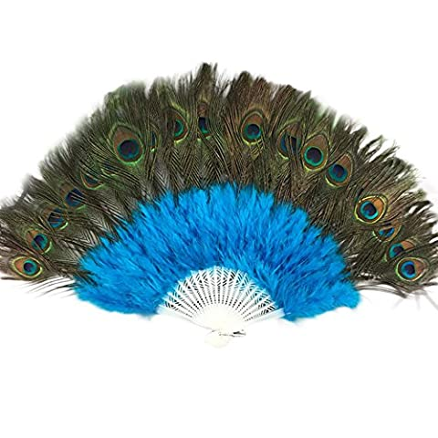 Peacock Feather Bone Show Dance Feather Fan Wedding Showgirl Dance Elegant Large Feather Folding Hand Fan Decor Decal Lanspo (Sky