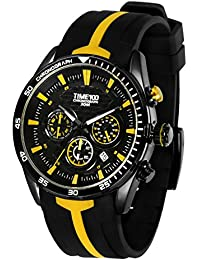 TIME100 Fashion Multifunction Silicone Leather Strap Quartz Men's Watch #W70103G.04A (yellow)