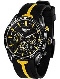 TIME100 W70103G.01A de la manera de silicona multifunción de la correa de cuero de los hombres de cuarzo reloj de pulsera