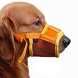 TFENG Hunde Maulkorb, weich Verhindert das Fressen von Lebensmitteln, vermeidet schädliches Selbstlecken, kein Bellen (Orange, Größe M)