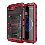 Seacosmo iPhone 6 Wasserdicht Hülle, Militärstandard Schutzhülle mit Eingebautem Displayschutz Haltbarkeit stoßfest Handyhülle für iPhone 6s,Rot