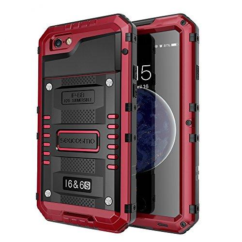 seacosmo iPhone 6 wasserdichte Hülle, Militärstandard Schutzhülle mit Eingebautem Displayschutz Haltbarkeit stoßfest Handyhülle für iPhone 6s, Rot - Iphone Cover 6 Wasserdichte Handy